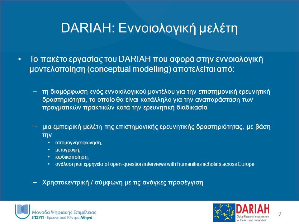 DARIAH: Εννοιολογική μελέτη •Το πακέτο εργασίας του DARIAH που αφορά στην εννοιολογική μοντελοποίηση (conceptual modelling) αποτελείται από: –τη διαμό