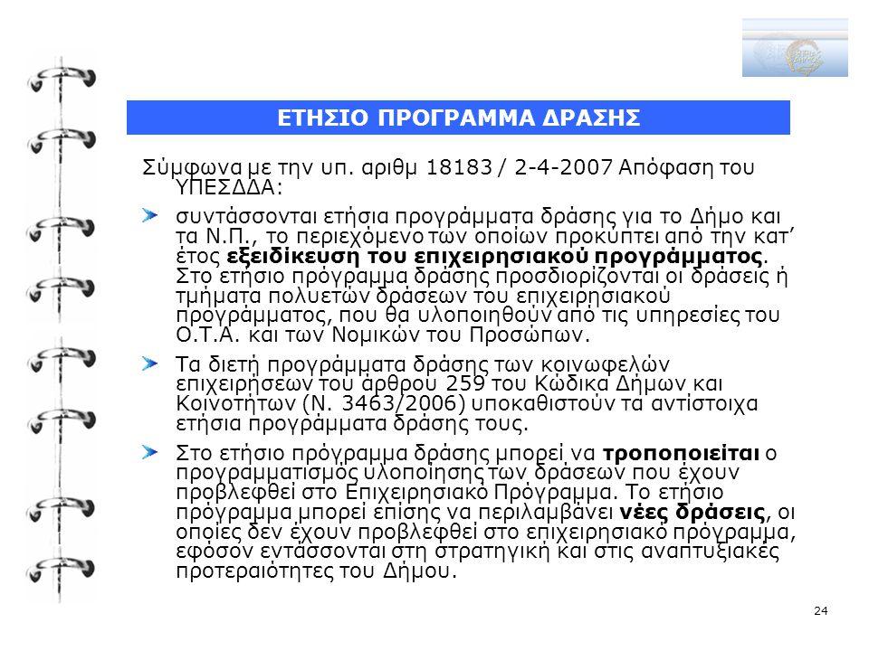 Σύμφωνα με την υπ. αριθμ 18183 / 2-4-2007 Απόφαση του ΥΠΕΣΔΔΑ: συντάσσονται ετήσια προγράμματα δράσης για το Δήμο και τα Ν.Π., το περιεχόμενο των οποί