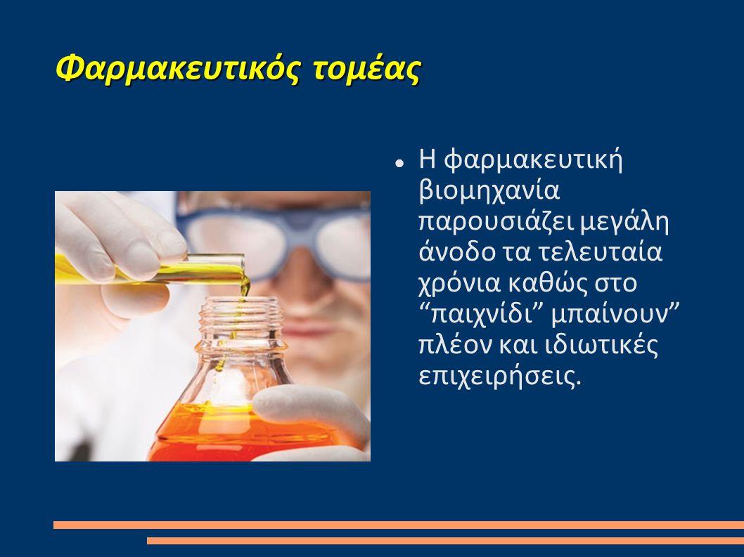 Φαρμακευτικός τομέας  Η φαρμακευτική βιομηχανία παρουσιάζει μεγάλη άνοδο τα τελευταία χρόνια καθώς στο παιχνίδι μπαίνουν πλέον και ιδιωτικές επιχειρήσεις.