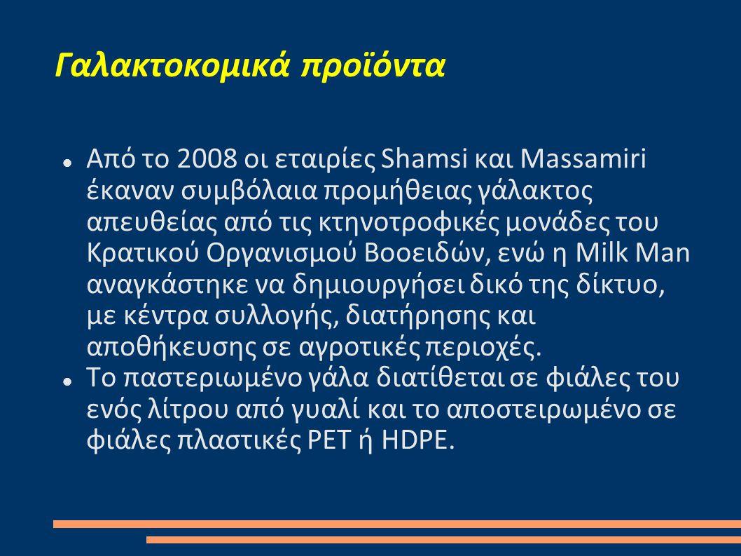Γαλακτοκομικά προϊόντα  Από το 2008 οι εταιρίες Shamsi και Massamiri έκαναν συμβόλαια προμήθειας γάλακτος απευθείας από τις κτηνοτροφικές μονάδες του Κρατικού Οργανισμού Βοοειδών, ενώ η Milk Man αναγκάστηκε να δημιουργήσει δικό της δίκτυο, με κέντρα συλλογής, διατήρησης και αποθήκευσης σε αγροτικές περιοχές.