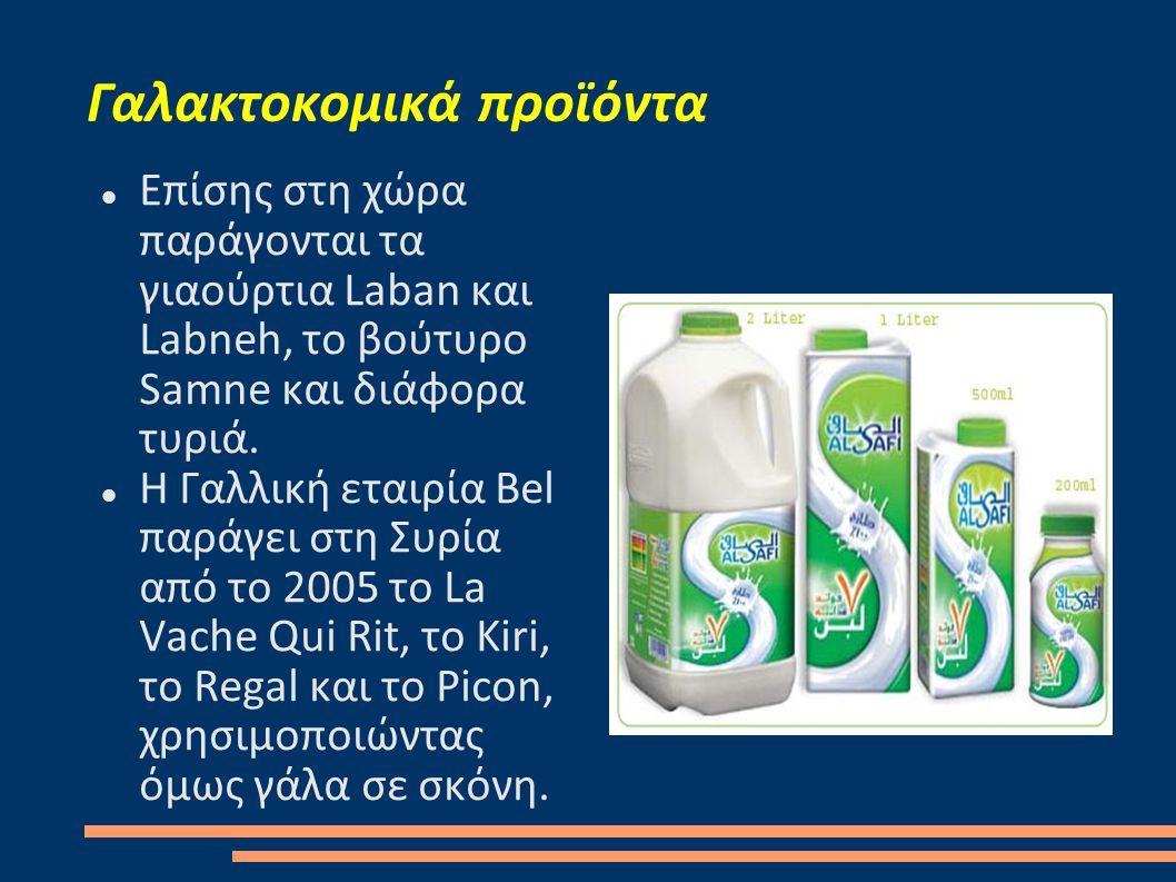 Γαλακτοκομικά προϊόντα  Επίσης στη χώρα παράγονται τα γιαούρτια Laban και Labneh, το βούτυρο Samne και διάφορα τυριά.  Η Γαλλική εταιρία Bel παράγει