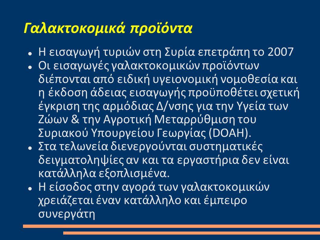 Γαλακτοκομικά προϊόντα  Η εισαγωγή τυριών στη Συρία επετράπη το 2007  Οι εισαγωγές γαλακτοκομικών προϊόντων διέπονται από ειδική υγειονομική νομοθεσία και η έκδοση άδειας εισαγωγής προϋποθέτει σχετική έγκριση της αρμόδιας Δ/νσης για την Υγεία των Ζώων & την Αγροτική Μεταρρύθμιση του Συριακού Υπουργείου Γεωργίας (DOAH).