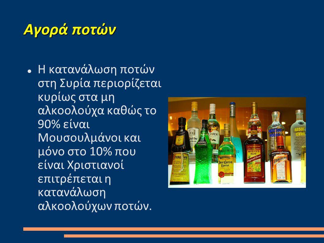 Αγορά ποτών  Η κατανάλωση ποτών στη Συρία περιορίζεται κυρίως στα μη αλκοολούχα καθώς το 90% είναι Μουσουλμάνοι και μόνο στο 10% που είναι Χριστιανοί επιτρέπεται η κατανάλωση αλκοολούχων ποτών.