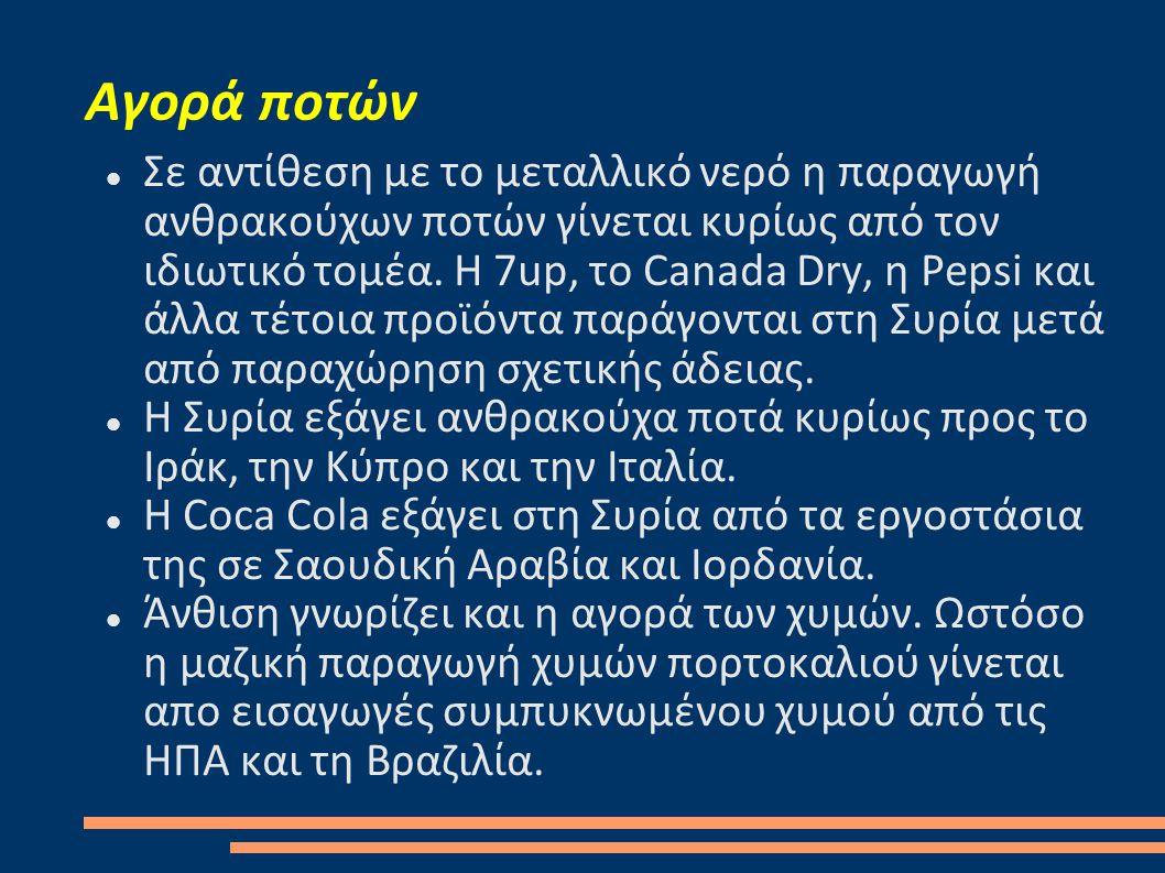 Αγορά ποτών  Σε αντίθεση με το μεταλλικό νερό η παραγωγή ανθρακούχων ποτών γίνεται κυρίως από τον ιδιωτικό τομέα. Η 7up, το Canada Dry, η Pepsi και ά