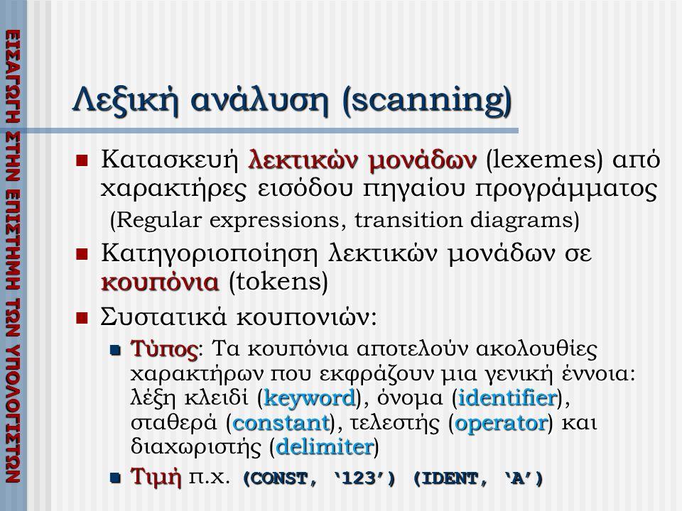 ΕΙΣΑΓΩΓΗ ΣΤΗΝ ΕΠΙΣΤΗΜΗ ΤΩΝ ΥΠΟΛΟΓΙΣΤΩΝ Λεξική ανάλυση (scanning)  Κατασκευή λεκτικών μονάδων (lexemes) από χαρακτήρες εισόδου πηγαίου προγράμματος (R