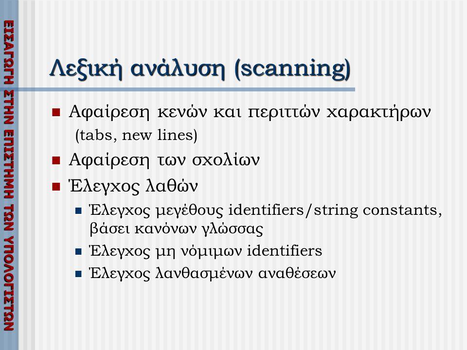 ΕΙΣΑΓΩΓΗ ΣΤΗΝ ΕΠΙΣΤΗΜΗ ΤΩΝ ΥΠΟΛΟΓΙΣΤΩΝ Λεξική ανάλυση (scanning)  Αφαίρεση κενών και περιττών χαρακτήρων (tabs, new lines)  Αφαίρεση των σχολίων  Έλεγχος λαθών  Έλεγχος μεγέθους identifiers/string constants, βάσει κανόνων γλώσσας  Έλεγχος μη νόμιμων identifiers  Έλεγχος λανθασμένων αναθέσεων