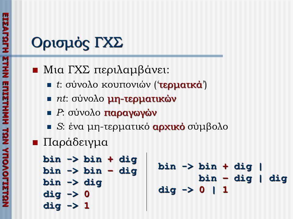 ΕΙΣΑΓΩΓΗ ΣΤΗΝ ΕΠΙΣΤΗΜΗ ΤΩΝ ΥΠΟΛΟΓΙΣΤΩΝ Ορισμός ΓΧΣ  Μια ΓΧΣ περιλαμβάνει:  t : σύνολο κουπονιών ('τερματκά')  nt : σύνολο μη-τερματικών  P : σύνολο παραγωγών  S : ένα μη-τερματικό αρχικό σύμβολο  Παράδειγμα bin -> bin + dig bin -> bin – dig bin -> dig dig -> 0 dig -> 1 bin -> bin + dig | bin – dig | dig dig -> 0 | 1