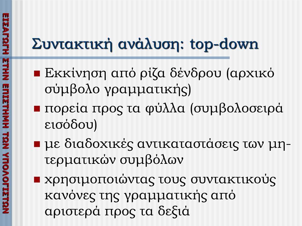 ΕΙΣΑΓΩΓΗ ΣΤΗΝ ΕΠΙΣΤΗΜΗ ΤΩΝ ΥΠΟΛΟΓΙΣΤΩΝ Συντακτική ανάλυση: top-down  Εκκίνηση από ρίζα δένδρου (αρχικό σύμβολο γραμματικής)  πορεία προς τα φύλλα (συμβολοσειρά εισόδου)  με διαδοχικές αντικαταστάσεις των μη- τερματικών συμβόλων  χρησιμοποιώντας τους συντακτικούς κανόνες της γραμματικής από αριστερά προς τα δεξιά