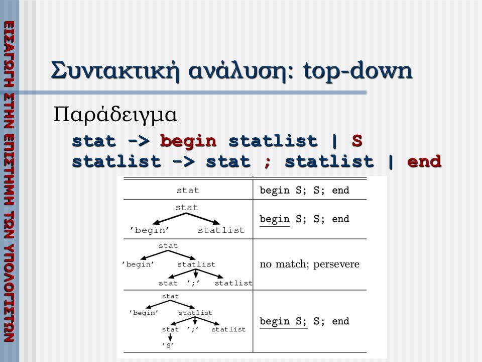 ΕΙΣΑΓΩΓΗ ΣΤΗΝ ΕΠΙΣΤΗΜΗ ΤΩΝ ΥΠΟΛΟΓΙΣΤΩΝ Συντακτική ανάλυση: top-down Παράδειγμα stat -> begin statlist | S statlist -> stat ; statlist | end