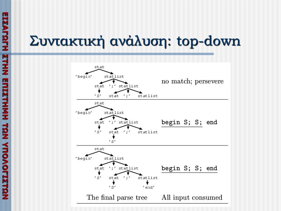 ΕΙΣΑΓΩΓΗ ΣΤΗΝ ΕΠΙΣΤΗΜΗ ΤΩΝ ΥΠΟΛΟΓΙΣΤΩΝ Συντακτική ανάλυση: top-down
