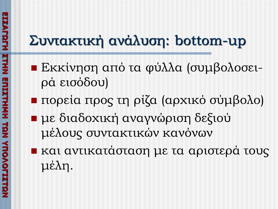 ΕΙΣΑΓΩΓΗ ΣΤΗΝ ΕΠΙΣΤΗΜΗ ΤΩΝ ΥΠΟΛΟΓΙΣΤΩΝ Συντακτική ανάλυση: bottom-up  Εκκίνηση από τα φύλλα (συμβολοσει- ρά εισόδου)  πορεία προς τη ρίζα (αρχικό σύμβολο)  με διαδοχική αναγνώριση δεξιού μέλους συντακτικών κανόνων  και αντικατάσταση με τα αριστερά τους μέλη.