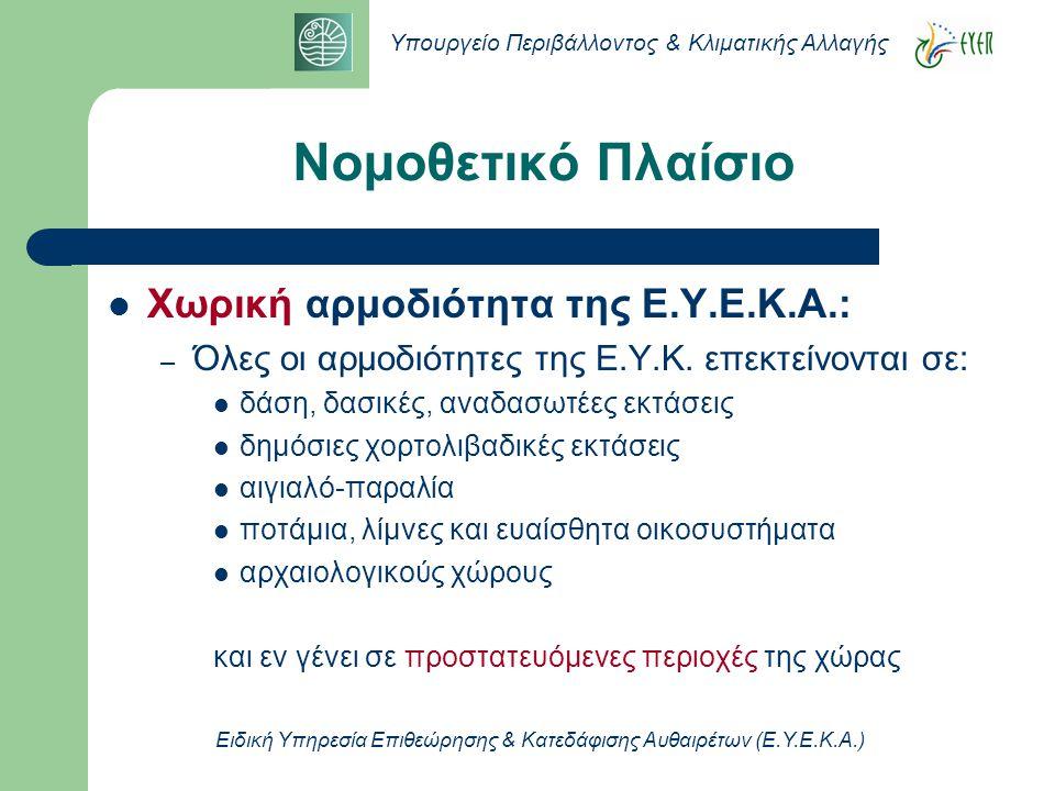 Υπουργείο Περιβάλλοντος & Κλιματικής Αλλαγής Ειδική Υπηρεσία Επιθεώρησης & Κατεδάφισης Αυθαιρέτων (Ε.Υ.Ε.Κ.Α.)  Διοικητική αρμοδιότητα της Ε.Υ.Ε.Κ.Α.: – α) τον εντοπισμό και τον έλεγχο αυθαίρετων επεμβάσεων και κατασκευών, σε συνεργασία με τις αρμόδιες Υπηρεσίες – β)την παρακολούθηση των διαδικασιών καθαίρεσης και κατεδάφισης και την εκτέλεση των σχετικών πράξεων – γ) τη μέριμνα για την απομάκρυνση των αυθαιρέτων κατασκευών και για την ορθή διάθεση των οικοδομικών αποβλήτων (μπάζων) και την αποκατάσταση του περιβάλλοντος από τυχόν περιβαλλοντική ζημιά Νομοθετικό Πλαίσιο