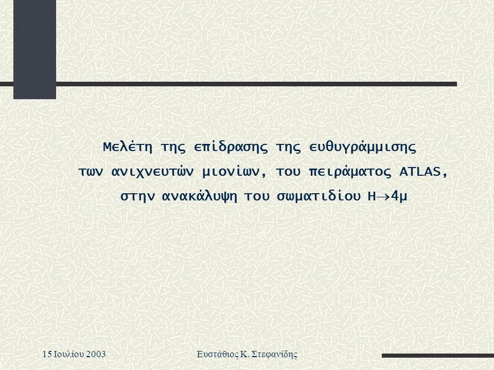 15 Iουλίου 2003Ευστάθιος Κ. Στεφανίδης Μελέτη της επίδρασης της ευθυγράμμισης των ανιχνευτών μιονίων, του πειράματος ATLAS, στην ανακάλυψη του σωματιδ