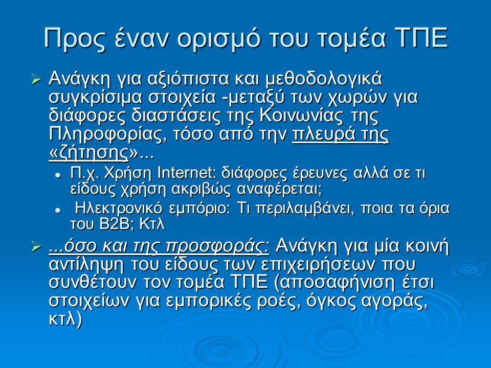 Κατηγοριοποίηση επιχειρήσεων • Α) Κατασκευή εξοπλισμού ΤΠΕ: Η μεταποίηση του τομέα ΤΠΕ • Β) Εμπόριο προϊόντων ΤΠΕ: Οι επιχειρήσεις με κύρια δραστηριότητα τη χονδρική & λιανική πώληση προϊόντων ΤΠΕ • Γ) Πάροχοι τηλεπ/κών και διαδικτυακών υπηρεσιών: • Δ) Προϊόντα λογισμικού: κυρίως όσοι πωλούν άδειες και εγκαθιστούν τυποποιημένο λογισμικό • Ε) Υπηρεσίες Πληροφορικής: Οι περισσότερες επιχειρήσεις