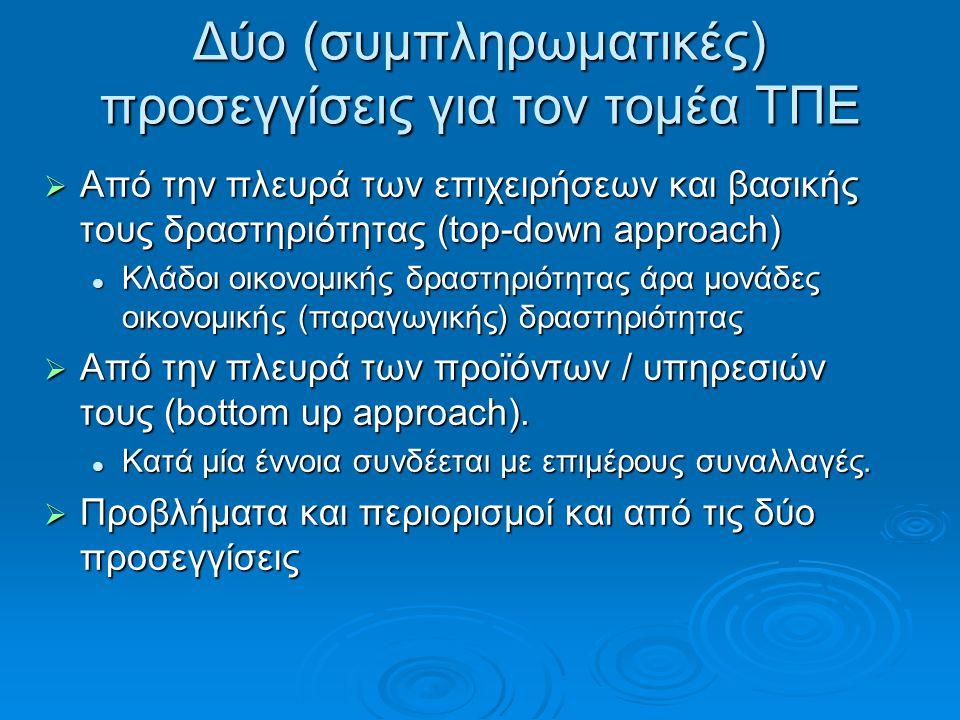 Δύο (συμπληρωματικές) προσεγγίσεις για τον τομέα ΤΠΕ  Από την πλευρά των επιχειρήσεων και βασικής τους δραστηριότητας (top-down approach)  Κλάδοι οικονομικής δραστηριότητας άρα μονάδες οικονομικής (παραγωγικής) δραστηριότητας  Από την πλευρά των προϊόντων / υπηρεσιών τους (bottom up approach).
