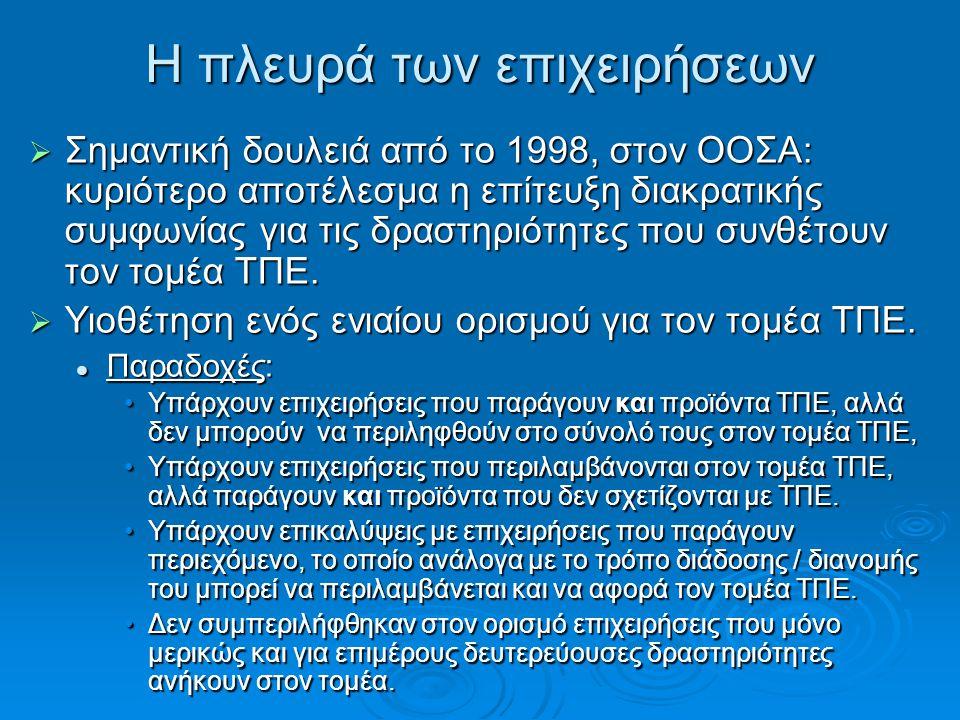 Η πλευρά των επιχειρήσεων  Σημαντική δουλειά από το 1998, στον ΟΟΣΑ: κυριότερο αποτέλεσμα η επίτευξη διακρατικής συμφωνίας για τις δραστηριότητες που συνθέτουν τον τομέα ΤΠΕ.