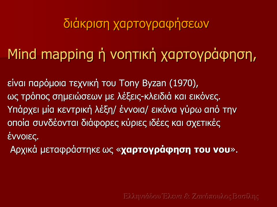 Mind mapping ή νοητική χαρτογράφηση, είναι παρόμοια τεχνική του Tony Byzan (1970), ως τρόπος σημειώσεων με λέξεις-κλειδιά και εικόνες. Υπάρχει μία κεν