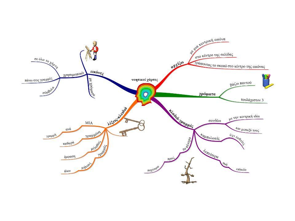 Η ειδοποιός διαφορά μεταξύ νοητικών (mind maps) και εννοιολογικών χαρτών (concept maps) είναι ότι οι νοητικοί ασχολούνται γενικά με μία κύρια ιδέα, ενώ οι εννοιολογικοί με πολύ περισσότερες.