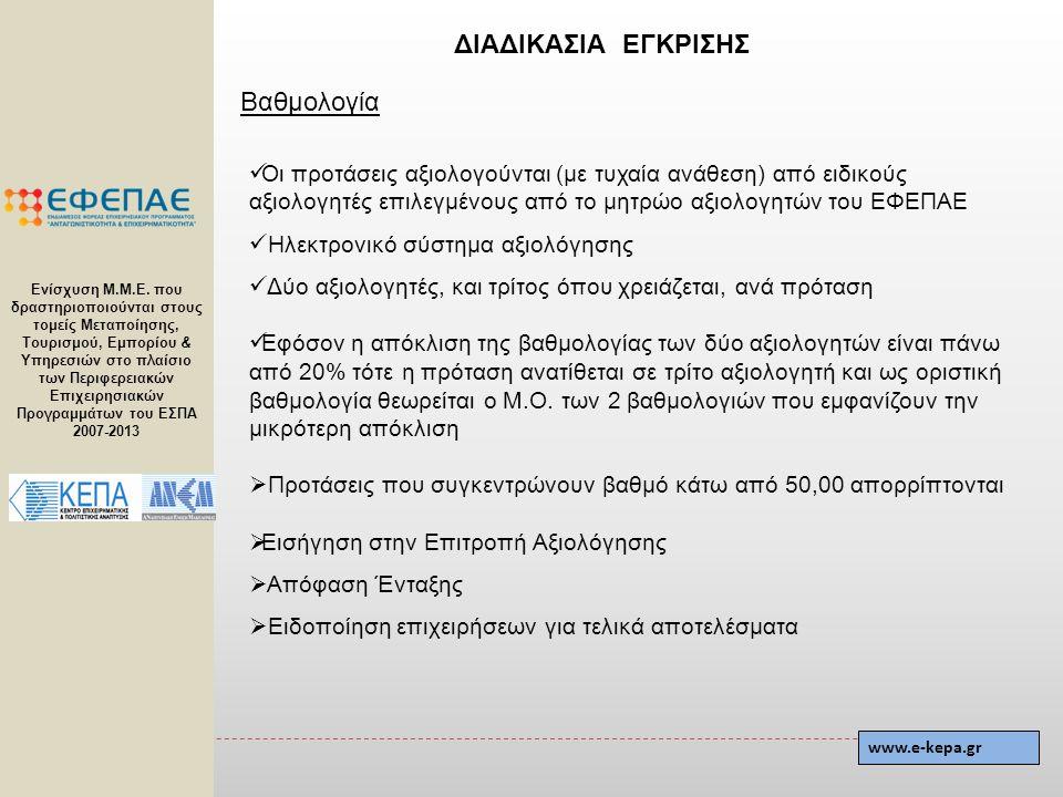 Βαθμολογία  Οι προτάσεις αξιολογούνται (με τυχαία ανάθεση) από ειδικούς αξιολογητές επιλεγμένους από το μητρώο αξιολογητών του ΕΦΕΠΑΕ  Ηλεκτρονικό σ