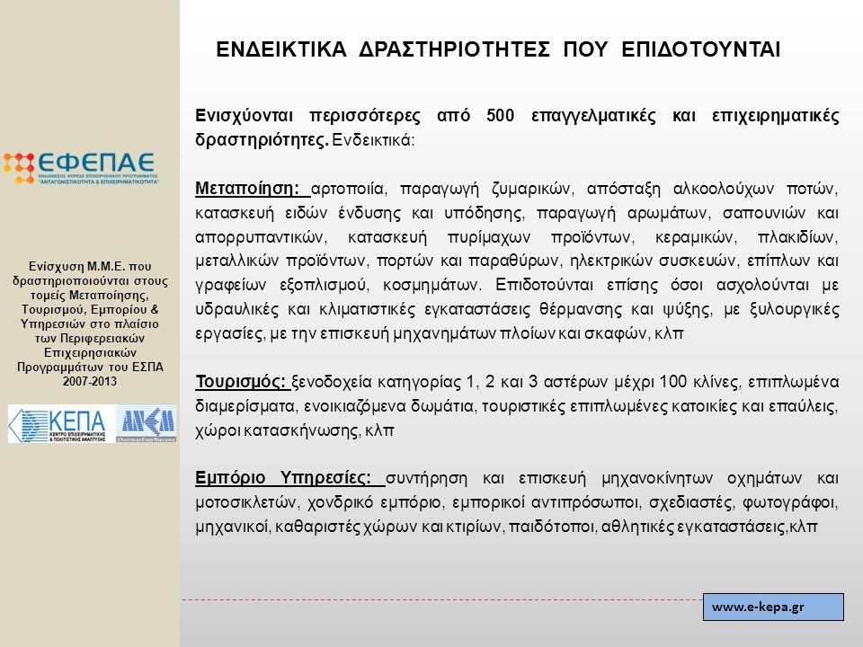 Ενίσχυση Μ.Μ.Ε. που δραστηριοποιούνται στους τομείς Μεταποίησης, Τουρισμού, Εμπορίου & Υπηρεσιών στο πλαίσιο των Περιφερειακών Επιχειρησιακών Προγραμμ