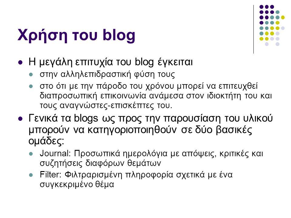 Χρήση του blog  Η μεγάλη επιτυχία του blog έγκειται  στην αλληλεπιδραστική φύση τους  στο ότι με την πάροδο του χρόνου μπορεί να επιτευχθεί διαπροσωπική επικοινωνία ανάμεσα στον ιδιοκτήτη του και τους αναγνώστες-επισκέπτες του.
