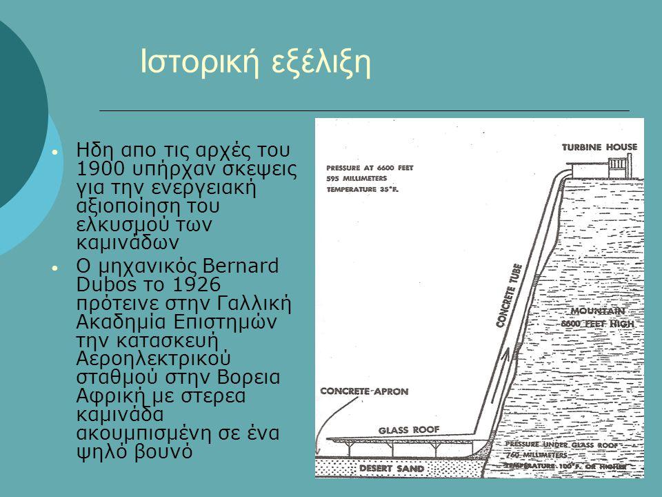 Ιστορική εξέλιξη • Ηδη απο τις αρχές του 1900 υπήρχαν σκεψεις για την ενεργειακή αξιοποίηση του ελκυσμού των καμινάδων • Ο μηχανικός Bernard Dubos τo