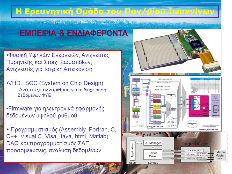 17 •Φυσική Υψηλών Ενεργειών, Ανιχνευτές Πυρηνικής και Στοιχ. Σωματιδίων, Ανιχνευτές για Ιατρική Απεικόνιση •VHDL SOC (System on Chip Design) Ανάπτυξη