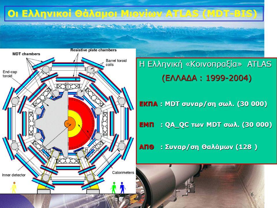 6 Οι Ελληνικοί Θάλαμοι Μιονίων ATLAS (MDT-BIS) Η Ελληνική «Κοινοπραξία» ATLAS (ΕΛΛΑΔΑ : 1999-2004) ΕΚΠΑ : MDT συναρ/ση σωλ. (30 000) ΕΜΠ : QA_QC των M