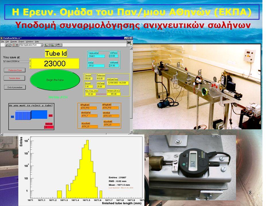 8 Η Ερευν. Ομάδα του Παν/μιου ΑΘηνών (ΕΚΠΑ) Υποδομή συναρμολόγησης ανιχνευτικών σωλήνων