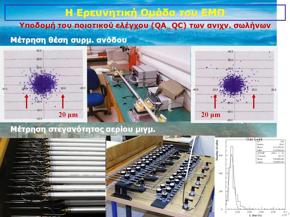 9 20 μm Υποδομή του ποιοτικού ελέγχου (QA_QC) των ανιχν. σωλήνων Μέτρηση θέση συρμ. ανόδου Μέτρηση στεγανότητας αερίου μιγμ. Η Ερευνητική Ομάδα του ΕΜ