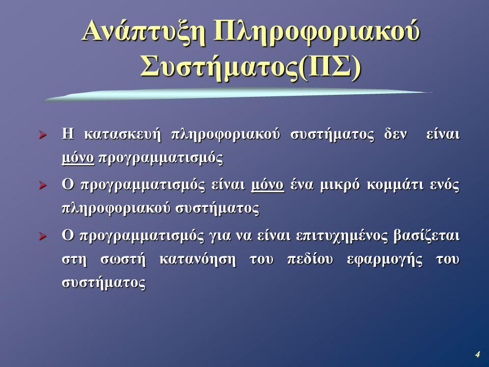 15 Πελάτης είναι το άτομο, σύνολο ατόμων ή ο οργανισμός/επιχείρηση ο οποίος πληρώνει για την ανάπτυξη του Πληροφοριακού Συστήματος.