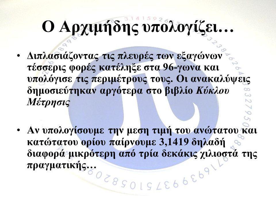 Ο Αρχιμήδης υπολογίζει… •Διπλασιάζοντας τις πλευρές των εξαγώνων τέσσερις φορές κατέληξε στα 96-γωνα και υπολόγισε τις περιμέτρους τους. Οι ανακαλύψει