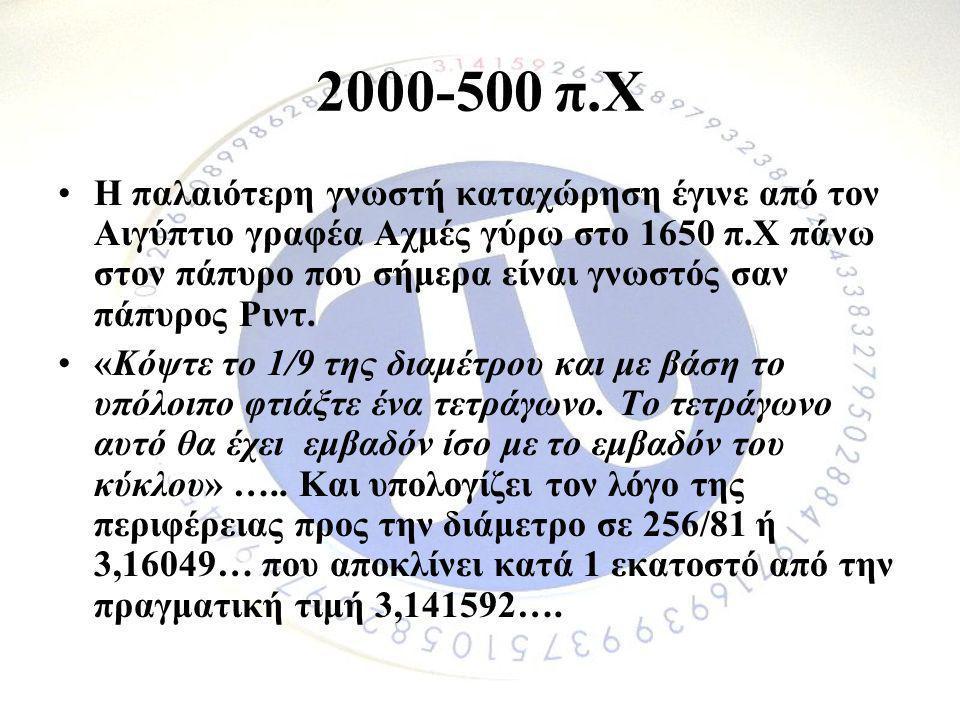2000-500 π.Χ •Η παλαιότερη γνωστή καταχώρηση έγινε από τον Αιγύπτιο γραφέα Αχμές γύρω στο 1650 π.Χ πάνω στον πάπυρο που σήμερα είναι γνωστός σαν πάπυρ