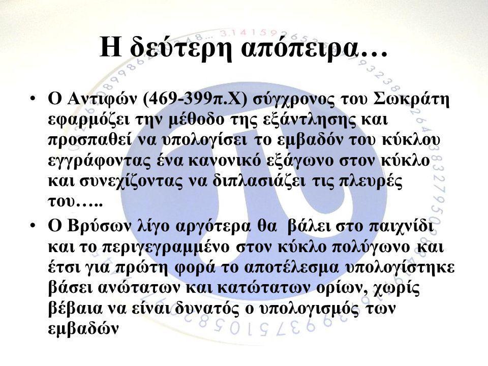 Η δεύτερη απόπειρα… •Ο Αντιφών (469-399π.Χ) σύγχρονος του Σωκράτη εφαρμόζει την μέθοδο της εξάντλησης και προσπαθεί να υπολογίσει το εμβαδόν του κύκλο