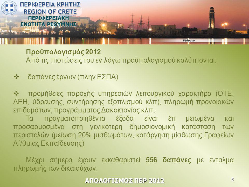 ΠΕΡΙΦΕΡΕΙΑΚΗ ΕΝΟΤΗΤΑ ΡΕΘΥΜΝΗΣ Προϋπολογισμός 2012 Από τις πιστώσεις του εν λόγω προϋπολογισμού καλύπτονται:  δαπάνες έργων (πλην ΕΣΠΑ)  προμήθειες π