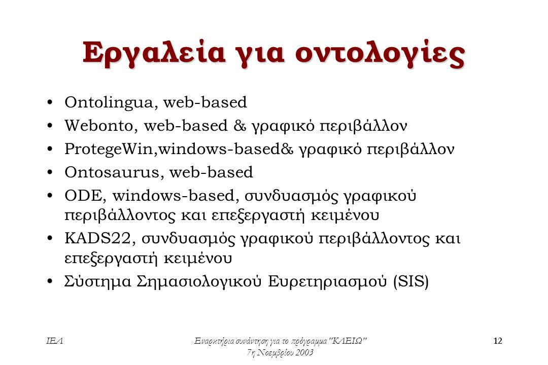ΙΕΛΕναρκτήρια συνάντηση για το πρόγραμμα ΚΛΕΙΩ 7η Νοεμβρίου 2003 12 Εργαλεία για οντολογίες •Ontolingua, web-based •Webonto, web-based & γραφικό περιβάλλον •ProtegeWin,windows-based& γραφικό περιβάλλον •Ontosaurus, web-based •ODE, windows-based, συνδυασμός γραφικού περιβάλλοντος και επεξεργαστή κειμένου •KADS22, συνδυασμός γραφικού περιβάλλοντος και επεξεργαστή κειμένου •Σύστημα Σημασιολογικού Ευρετηριασμού (SIS)