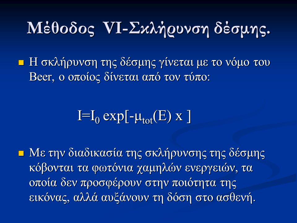 Μέθοδος VIΙ  Ο παράγοντας energy weighting ορίζεται ως: ορίζεται ως:  O γραμμικός σύντελεστής εξασθένησης υπολογίζεται εξασθένησης υπολογίζεται απο τις σχέσεις : απο τις σχέσεις :