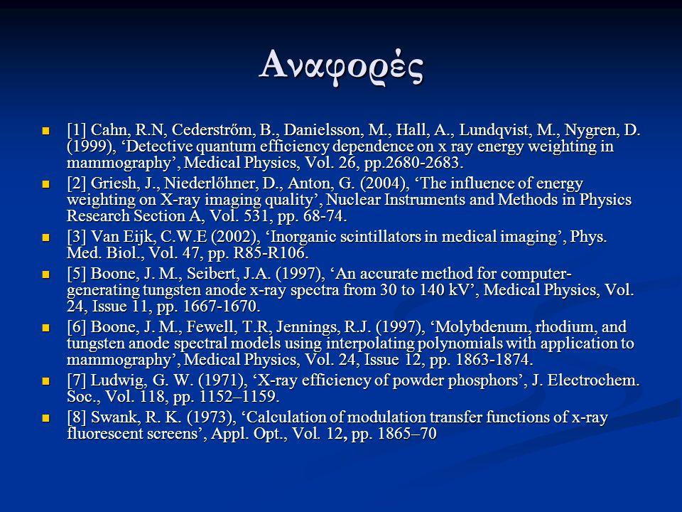 Αναφορές ΙΙ  [10] Kandarakis, I., Cavouras, D., Panayiotakis, G.S., Nomicos, C.D.(1997), 'Evaluating x- ray detectors for radiographic applications: A comparison of with and screens', Phys.