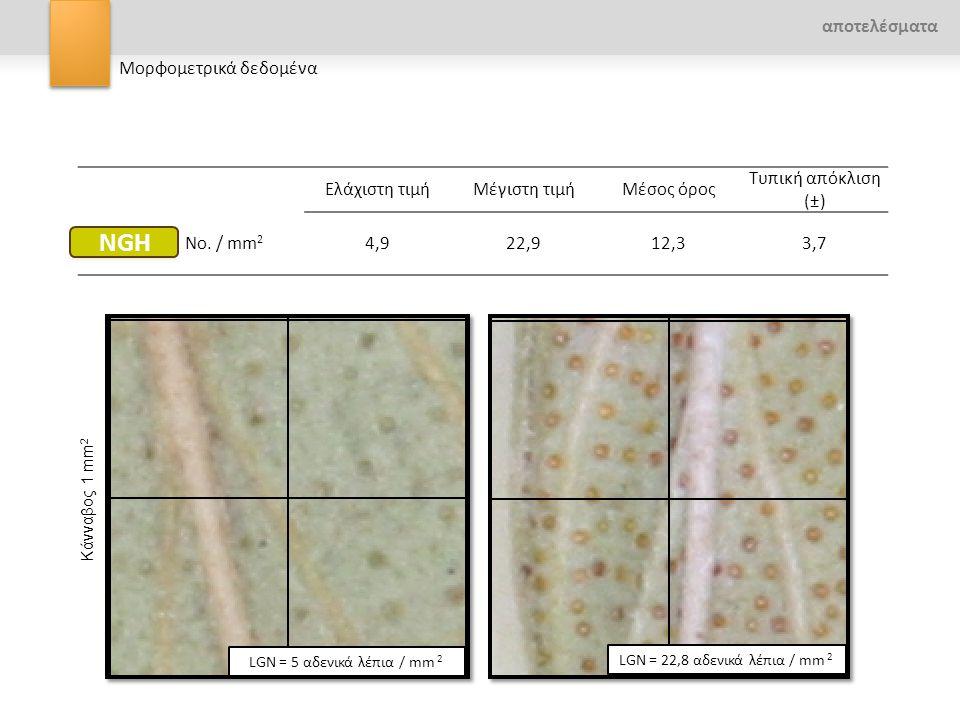 αποτελέσματα Μορφομετρικά δεδομένα Ελάχιστη τιμήΜέγιστη τιμήΜέσος όρος Τυπική απόκλιση (±) No. / mm 2 4,922,912,33,7 LGN = 22,8 αδενικά λέπια / mm 2 L