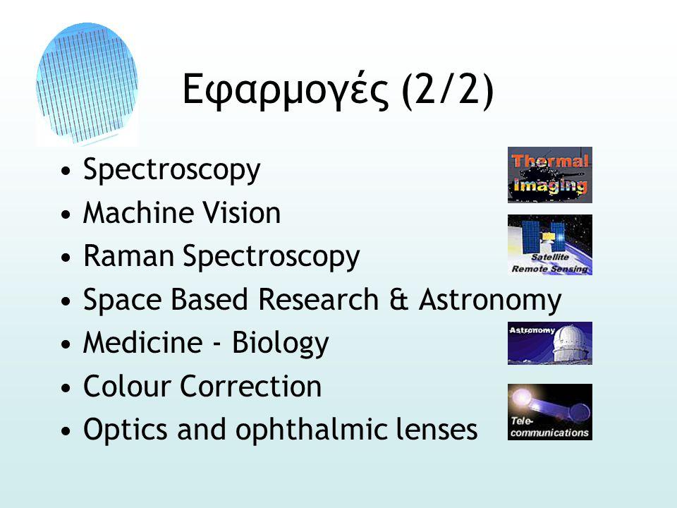 Εφαρμογές (2/2) •Spectroscopy •Machine Vision •Raman Spectroscopy •Space Based Research & Astronomy •Medicine - Biology •Colour Correction •Optics and
