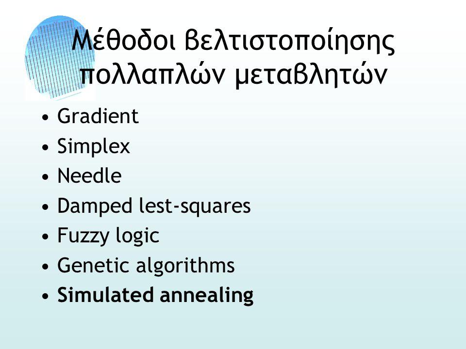 Μέθοδοι βελτιστοποίησης πολλαπλών μεταβλητών •Gradient •Simplex •Needle •Damped lest-squares •Fuzzy logic •Genetic algorithms •Simulated annealing