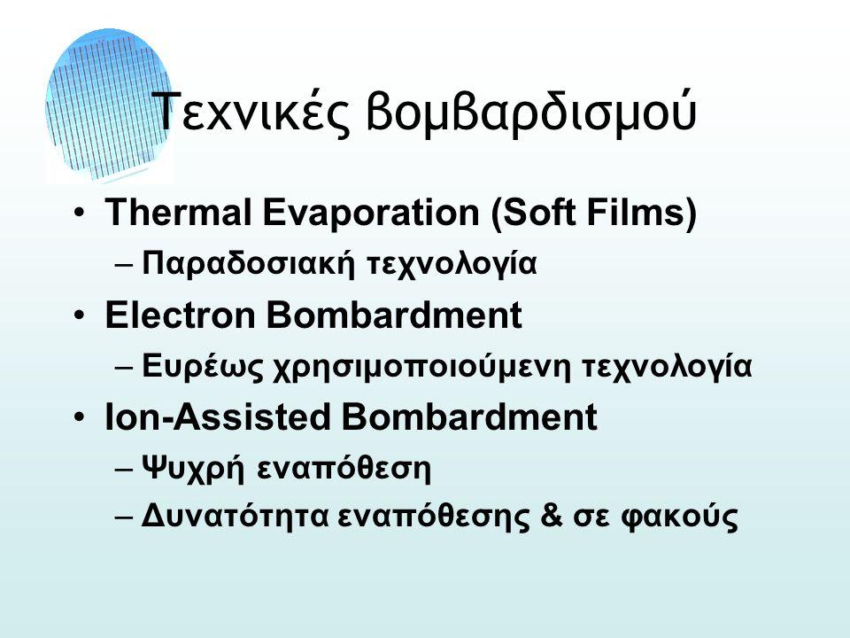 Τεχνικές βομβαρδισμού •Thermal Evaporation (Soft Films) –Παραδοσιακή τεχνολογία •Electron Bombardment –Ευρέως χρησιμοποιούμενη τεχνολογία •Ion-Assisted Bombardment –Ψυχρή εναπόθεση –Δυνατότητα εναπόθεσης & σε φακούς