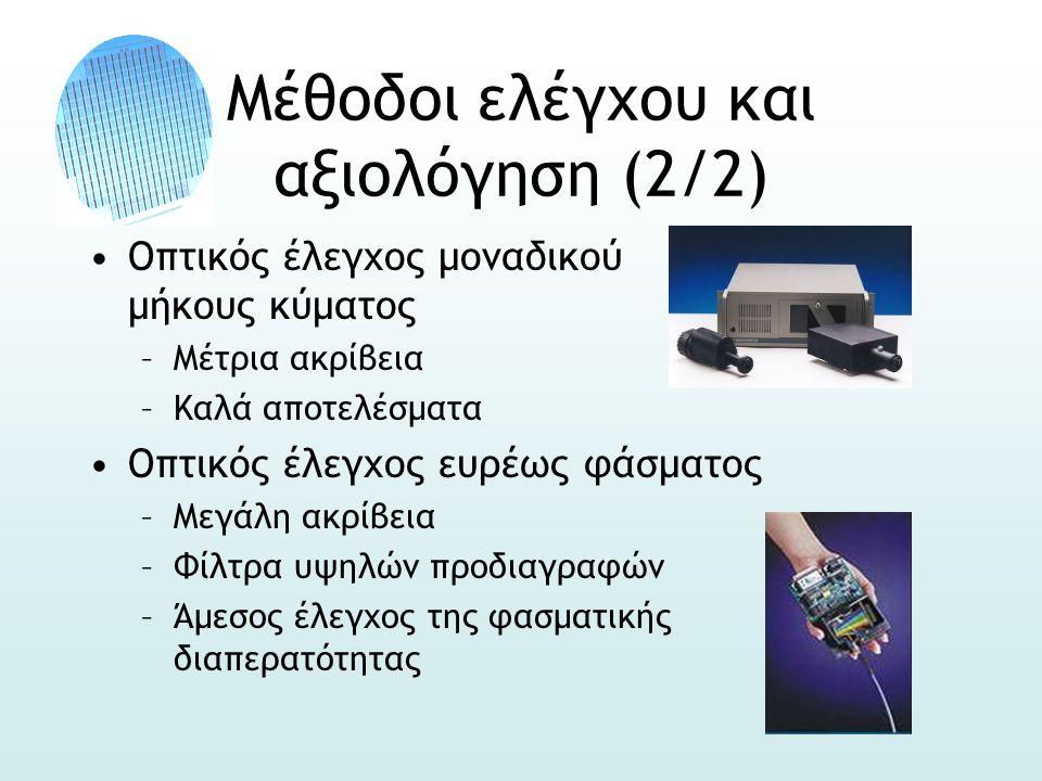 Μέθοδοι ελέγχου και αξιολόγηση (2/2) •Οπτικός έλεγχος μοναδικού μήκους κύματος –Μέτρια ακρίβεια –Καλά αποτελέσματα •Οπτικός έλεγχος ευρέως φάσματος –Μεγάλη ακρίβεια –Φίλτρα υψηλών προδιαγραφών –Άμεσος έλεγχος της φασματικής διαπερατότητας