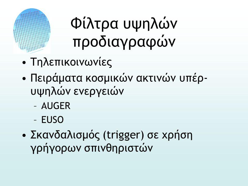 Φίλτρα υψηλών προδιαγραφών •Τηλεπικοινωνίες •Πειράματα κοσμικών ακτινών υπέρ- υψηλών ενεργειών –AUGER –EUSO •Σκανδαλισμός (trigger) σε χρήση γρήγορων σπινθηριστών