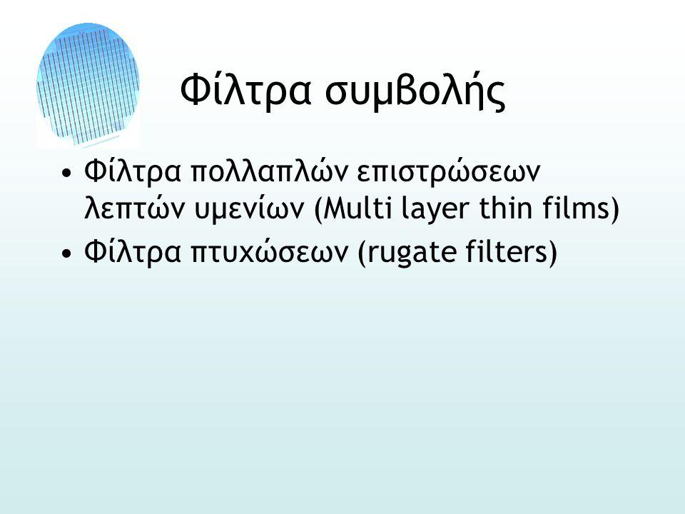 Φίλτρα συμβολής •Φίλτρα πολλαπλών επιστρώσεων λεπτών υμενίων (Multi layer thin films) •Φίλτρα πτυχώσεων (rugate filters)