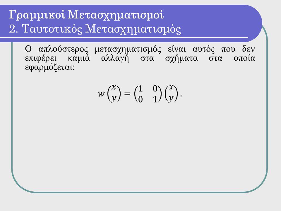 Γραμμικοί Μετασχηματισμοί 2. Ταυτοτικός Μετασχηματισμός