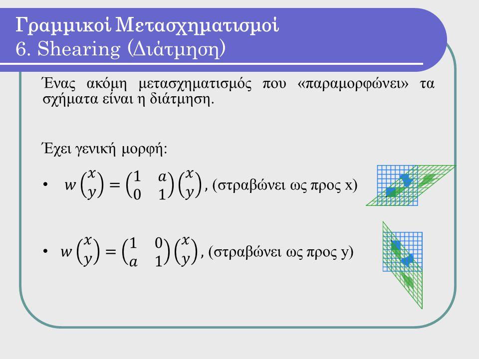 Γραμμικοί Μετασχηματισμοί 6. Shearing (Διάτμηση)
