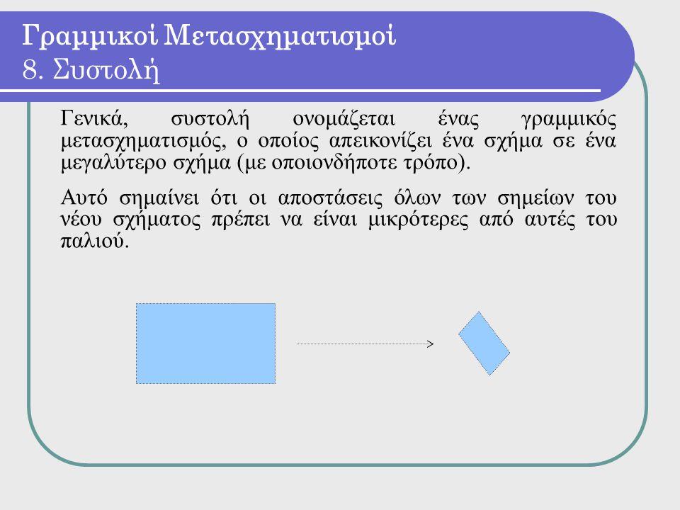 Γενικά, συστολή ονομάζεται ένας γραμμικός μετασχηματισμός, ο οποίος απεικονίζει ένα σχήμα σε ένα μεγαλύτερο σχήμα (με οποιονδήποτε τρόπο). Αυτό σημαίν