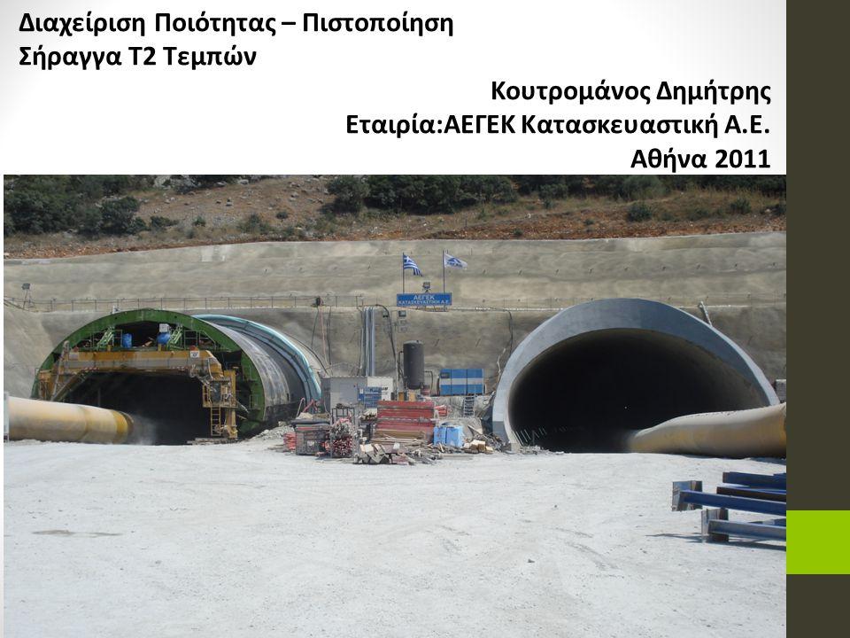 Διαχείριση Ποιότητας – Πιστοποίηση Σήραγγα Τ2 Τεμπών Κουτρομάνος Δημήτρης Εταιρία:ΑΕΓΕΚ Κατασκευαστική Α.Ε. Αθήνα 2011