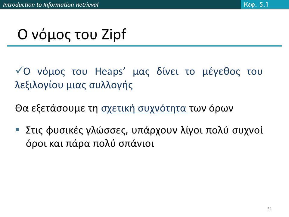 Introduction to Information Retrieval Ο νόμος του Zipf  Ο νόμος του Heaps' μας δίνει το μέγεθος του λεξιλογίου μιας συλλογής Θα εξετάσουμε τη σχετική συχνότητα των όρων  Στις φυσικές γλώσσες, υπάρχουν λίγοι πολύ συχνοί όροι και πάρα πολύ σπάνιοι Κεφ.